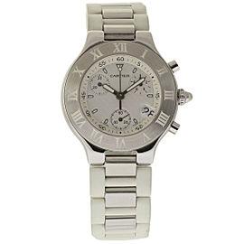 Cartier Must 21 W10184U2 Stainless Steel & Rubber White Dial Quartz 38mm Unisex Watch