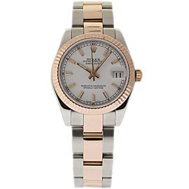 Rolex Datejust 178271 Stainless Steel / 18K Pink Gold with White Dial 31mm Womens Watch
