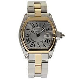 Cartier Roadster W62026Y4 Stainless Steel & 18K Yellow Gold Silver Dial Quartz 36mm Womens Watch