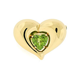 Van Cleef & Arpels 18K Yellow Gold Peridot Heart Pin Brooch