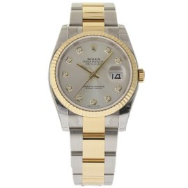 Rolex Datejust 116233 Stainless Steel & 18K Yellow Gold Silver Dial 36mm Mens Watch