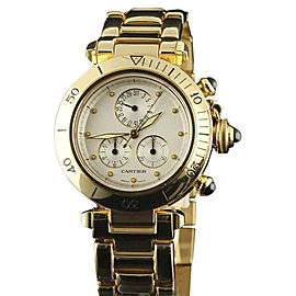 Cartier Pasha 1353/1 Yellow Gold White Dial Quartz 35mm Womens Watch