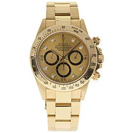Rolex Daytona 16528 18K Yellow Gold & Champagne Diamonds Dial 40mm Mens Watch