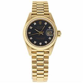 Rolex Datejust 69178 Yellow Gold Blue Diamond Dial Automatic 26mm Womens Watch