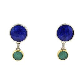 Gurhan 24K Yellow Gold & Sterling Silver Galapagos Green Gem & Lapis Dangle Earrings