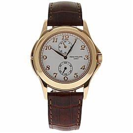 Patek Philippe Calatrava Travel Time 5134R-001 18K Rose Gold & Leather Manual 37mm Mens Watch