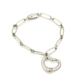 Tiffany & Co. Peretti Open Heart Oval Sterling Silver Chain Bracelet 7""