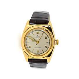 Rolex Oyster Chronometer 3131 14K Yellow Gold & Leather Manual 32mm Unisex Watch