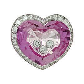 Chopard Happy Diamond 18K White Gold Pink Quartz Heart Ring Size 6