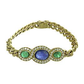 Bulgari 18K Yellow Gold Diamond Sapphire Emerald Link Bracelet