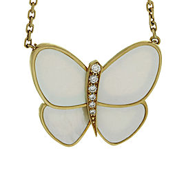 Van Cleef & Arpels 18K Yellow Gold Diamond Butterfly Pendant Necklace