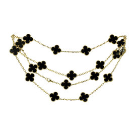 Van Cleef & Arpels Alhambra 18K Yellow Gold Black Onyx Motif Necklace