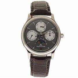 Jaeger Lecoultre Master Quantieme 140.3.80 White Gold & Leather 37mm Mens Watch