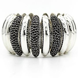 John Hardy Bedeg 925 Sterling Silver with Black Sapphires Lava Concave Flex Cuff Bracelet