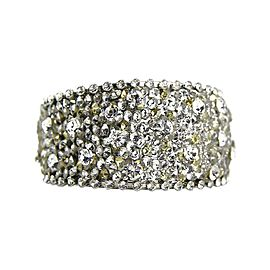 Thorson Hosier Rhodium Plated Metal Swarovski Crystal Cuff Bracelet