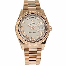 Rolex Day-Date II 218235 Rose Gold Ivory Dial Automatic 41mm Mens Watch