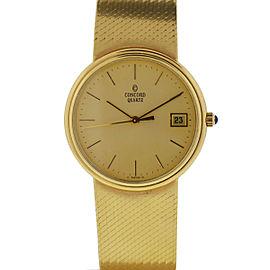 Concord 14K Yellow Gold Quartz Vintage 33mm Mens Watch