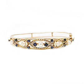 14K Yellow Gold with Pearls & Blue Sapphire Bangle Bracelet