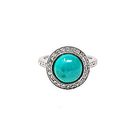 14K White Gold with 0.75ct. Diamond & Turquoise Stone Ring Size 5