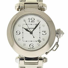 Cartier Pasha WJ1111M9 White Gold Diamond Automatic 32mm Womens Watch