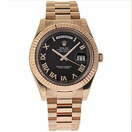 Rolex Day-Date II 218235 18K Rose Gold Black Dial Automatic 41mm Mens Watch