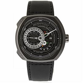 Sevenfriday Q-Series Q3-01 Black PVD Stainless Steel & Leather Automatic 49mm Mens Watch