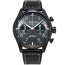 Alpina Startimer Pilot AL-860GB4FBS6 Stainless Steel & Leather Automatic 44mm Mens Watch