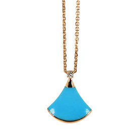 Bulgari Divas Dream 18K Rose Gold Diamond & Turquoise Necklace