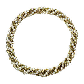 Van Cleef & Arpels 18K Yellow Gold Cultured Pearl Necklace
