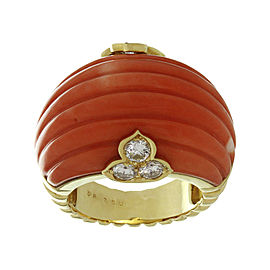 Christian Dior 18K Yellow Gold with Diamond and Coral Ring Size 6.5