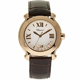 Chopard Happy Sport II 277471-5013 36mm Rose Gold Leather Women's Watch