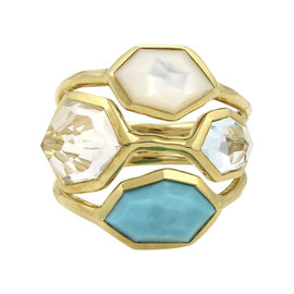 Ippolita Rock Candy 18K Yellow Gold with Multi Stone Ring Size 7