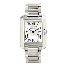 Cartier Tank Anglaise 3704 Stainless Steel Quartz 26mm Womens Watch