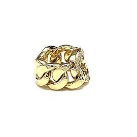 Bessa 18k Yellow Gold Curb Chain Link Diamond Ring