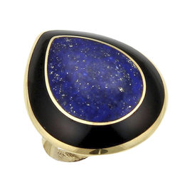 Ippolita Rock Candy 18K Yellow Gold with Lapis and Onyx Teardrop Ring Size 7