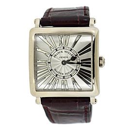 Franck Muller Master Square 6002 M QZ 18K White Gold & Leather Quartz 32.5mm Unisex Watch