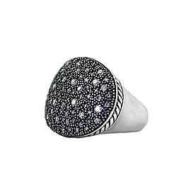 David Yurman 925 Sterling Silver 0.92ct Diamond Ring Size 7
