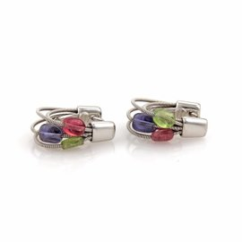 Marco Bicego 18K White Gold Tourmaline & Amethyst Multi Cable Hoop Earrings
