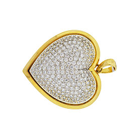18K Yellow Gold Pave Diamond Heart Pendant