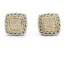 John Hardy Classic 925 Sterling Silver with 18K Yellow Gold Chain Diamond Stud Earrings