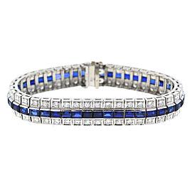 Platinum Sapphire & Diamonds Bracelet