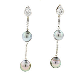 Damiani Ninfea 18K White Gold Tahitian Pearl & Diamonds Drop Earrings