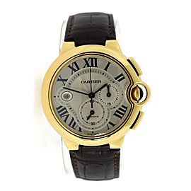 Cartier Ballon Bleu W6920007 18K Yellow Gold & Leather Automatic 47mm Mens Watch