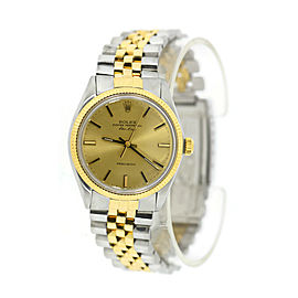Rolex Air-King 5501 Two Tone Stainless Steel Champagne Dial Automatic 34mm Mens Watch