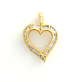 14K Yellow Gold with 0.85ct Diamond Heart Pendant