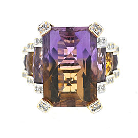 14K Yellow Gold Ametrine & Diamonds Ring Size 9.75