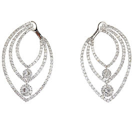 18k White Gold Three Row Prong Set Diamond Earrings 4.25 cts