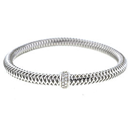 Roberto Coin Primavera 18K White Gold 0.22ct. Diamonds Flexible Bangle Bracelet