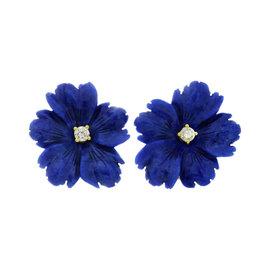 Tiffany & Co. Paloma Picasso 18K Yellow Gold Lapis Lazuli Flower Earrings