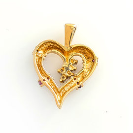 14K Yellow Gold Heart 0.39 Ct Diamond Rubies Pendant 4.1 Grams